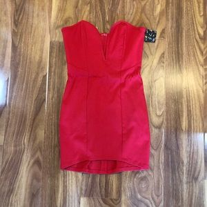 Nasty Gal Red strapless mini dress
